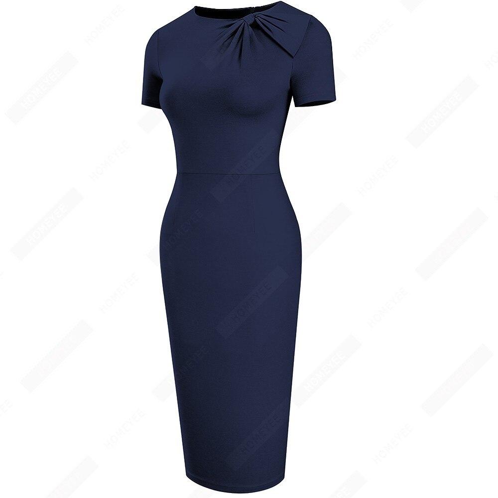 Women Brief Solid Color Classy Side Bow O Neck Fashion Slim Business Bodycon Pencil Dress EB622 3