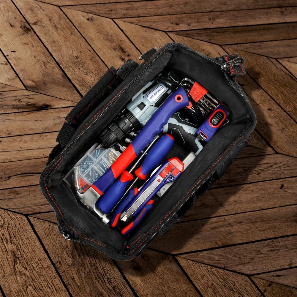 WORKPRO 12 inch Tool Bag 600D Polyester Electrician Shoulder Bag Tool Kits Bag Multi Bag Men Crossbody Bag for Tools