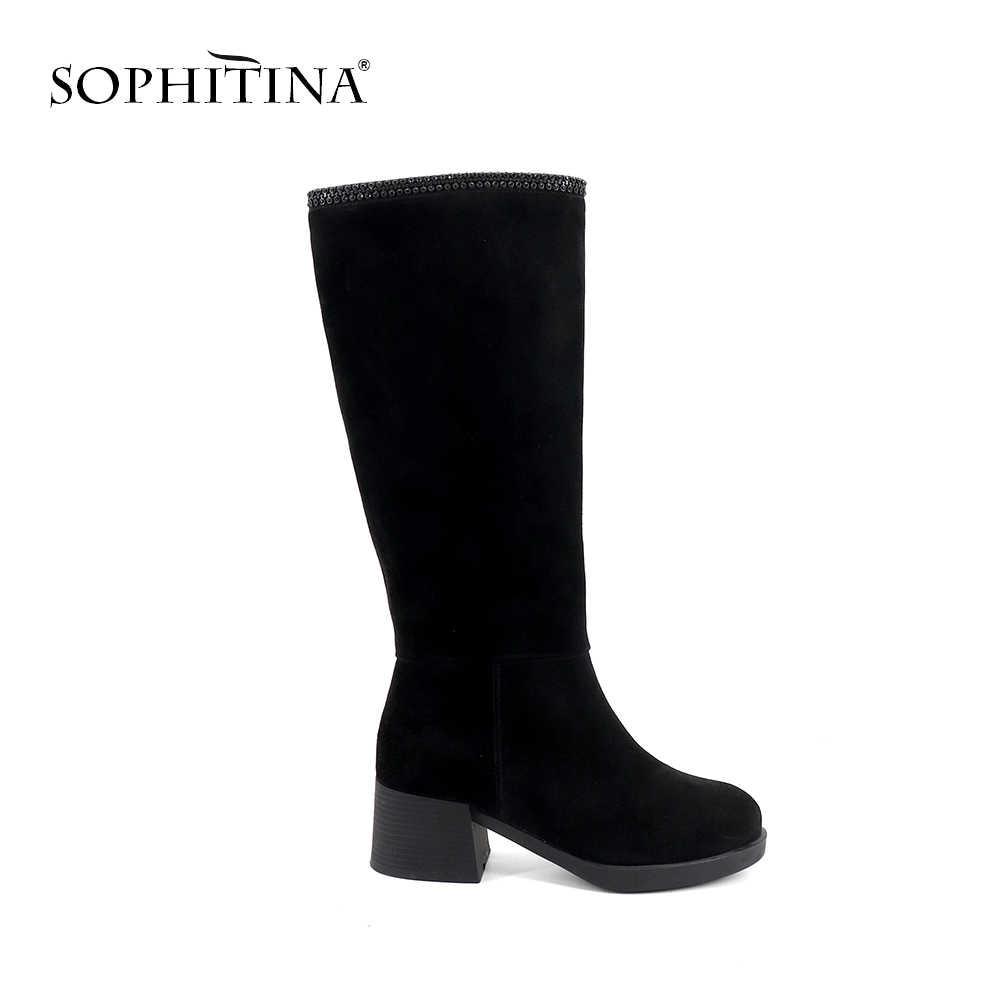 SOPHITINA חדש אופנתי גבירותיי בגובה הברך מגפי נוח עגול הבוהן כיכר העקב נעלי בסיסי בעבודת יד גבוהה העקב נשים מגפיים SC362