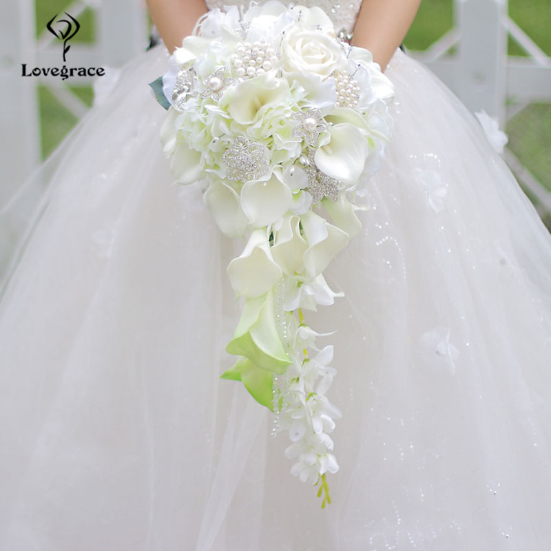 Lovegrace Bride Waterfall Wedding Bouquet Artificial Rose Calla Lily Flower Marriage Supply Fake Diamond Pearl Luxurious Bouquet