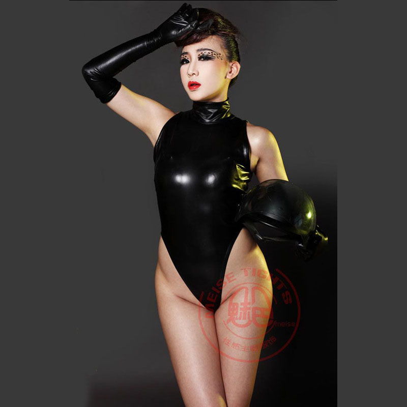 XS-2XL grande taille maillots de bain Latex Catsuit sans manches Sexy haute coupe string Body costume Cosplay maillot de bain Clubwear Body femmes image