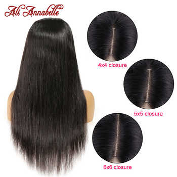 ALI ANNABELLE Hair 4x4 5x5 6x6 Lace Closure Human Hair Wigs Brazilian Straight Lace Closure Wig With Baby Hair pre plucked 100%