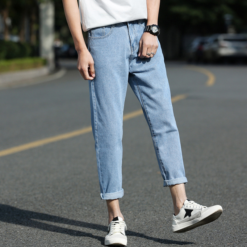 2019 Summer Men's New Style Jeans Capri Pants Korean-style Loose-Fit Trend Versatile Harem Pants Simple MEN'S Trousers