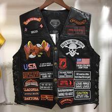 Крутой из натуральной кожи Harlly Moto мотоциклетный жилет Флаг США Орел байкер жилеты овчина вышитые символ жилет