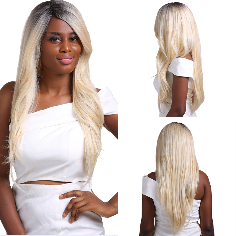 Ombre Blonde Pink Color Lace Part Synthetic Hair Wigs With Bangs Middle/Side Part X-TRESS Long Straight Lace Wig For Black Women