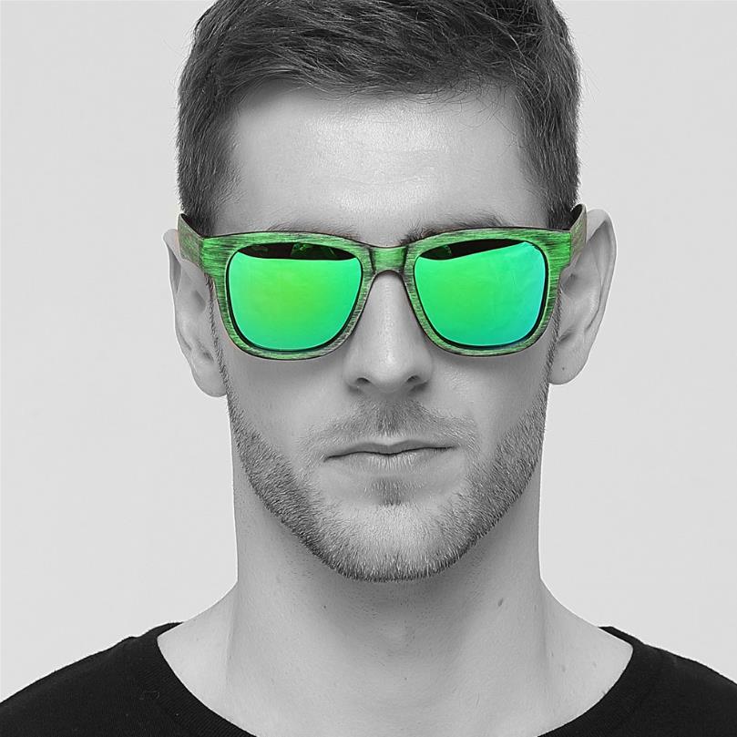 2020 Trend Cool Polarized Sunglasses Men Brand Designer Green Imitation Wood Grain Sun Glasses HD Lens Driving Fishing Eyewear