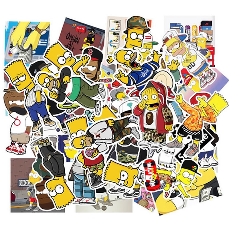 50pcs/Pack PVC Cartoon Simpsons Children Stickers Waterproof Skateboard Suitcase Guitar Girl Graffiti Sticker Kid Classic Toy