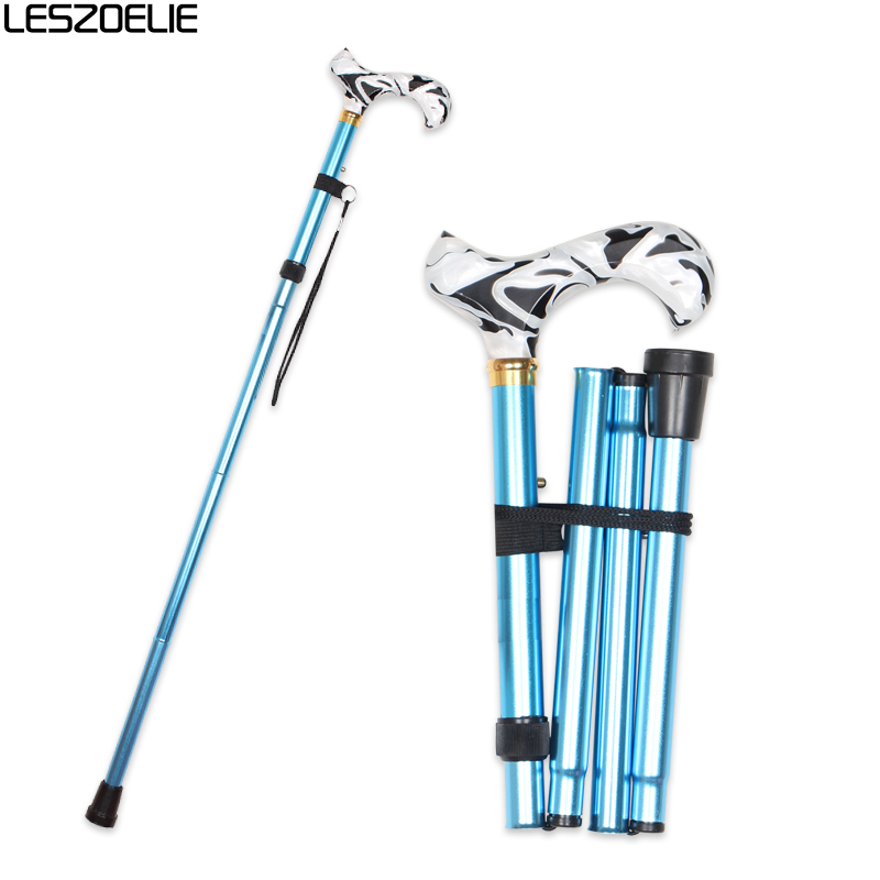 Folding Walking Stick Luxury Canes Men Fashion Decorative Cane Women Foldable Walking Stick Blue Aluminum Alloy Walking Cane