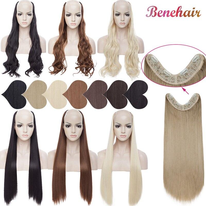 BENEHAIR U-part Clip In Hair Extensions 4 Clips In Hairpiece Synthetic Hair Extensions Fake Hair For Women