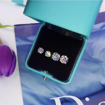 Trendy 5mm 9mm Lab Diamond Stud Earring Real 925 sterling silver Jewelry Engagement Wedding Earrings for.jpg 350x350 - Trendy 5mm/9mm Lab Diamond Stud Earring Real 925 sterling silver Jewelry Engagement Wedding Earrings for Women men Charm Gift