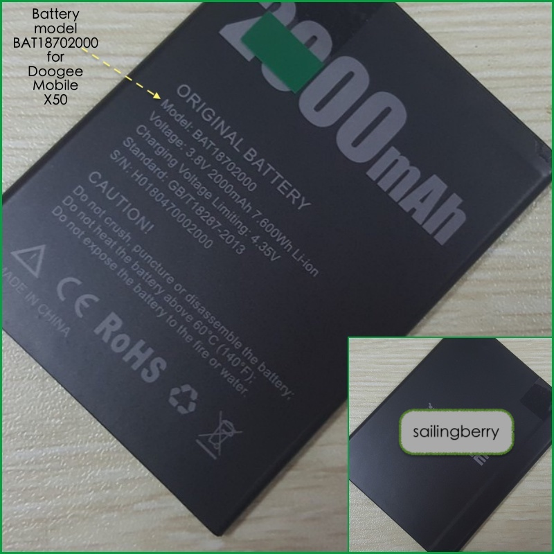Battery suitable for DOOGEE mobile X50 with battery model <font><b>BAT18702000</b></font> image