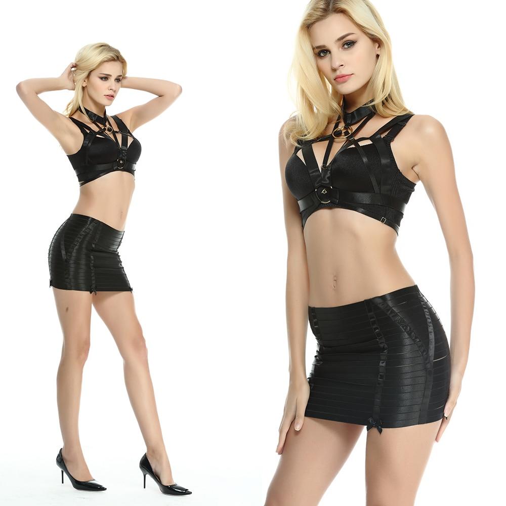 HANAERNES Cage Top Rave Body Elastic Gothic Bondage Woman Lingerie Sexy Garter Belt Punk Suspenders Harness Bra