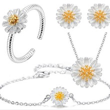 Jewelry-Set Silver-Plated Women Bridal Wholesale Fashion for Party Cheap Brincos Chrysanthemum