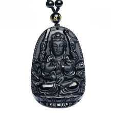High Quality Unique Natural Black Obsidian Carved Buddha Lucky Amulet Pendant Necklace For Women Men pendants Jewelry