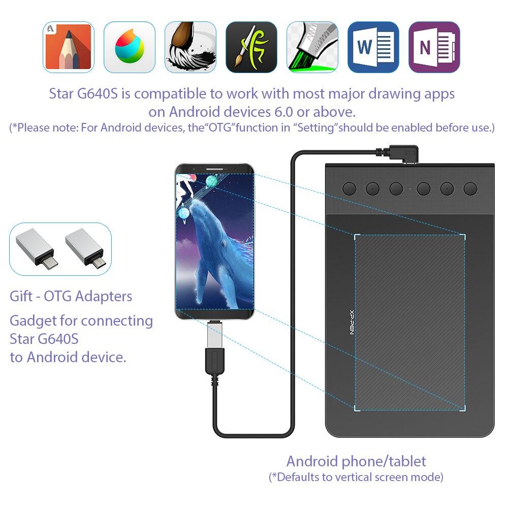 ¡XP-Pen Star G640S tableta gráfica de dibujo tableta tabletas de pluma digital para OSU! Con lápiz óptico presión 8192 para Android - 3