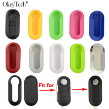 Okeytech 3 Buttons Remote Modified Flip Silica Car Key Shell For Fiat 500 Panda Punto Bravo Cover Uncut Blade Key Cover Case(China)