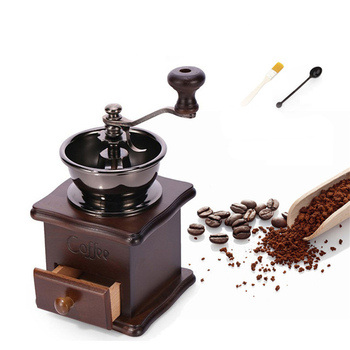 Manual Hand Crank Wooden Metal Coffee Maker Mill Spice Grinder Adjustable Coarseness Coffee Hand Grinder Drop Shipping manual coffee grinder wood metal hand mill spice mill wood color