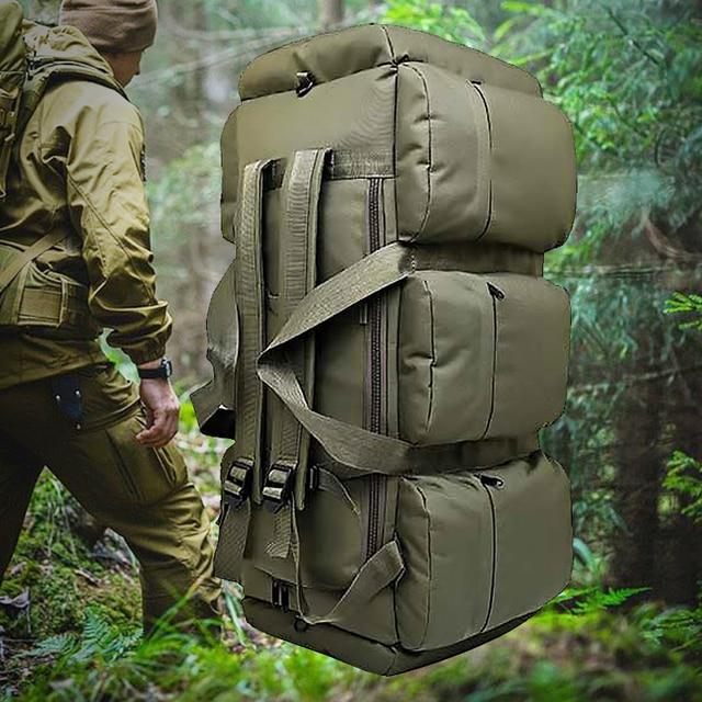 90L Large Capacity Men's Travel Bags Canvas Military Tactical Backpack Waterproof Hiking Climbing Camping Rucksack Bags XA216K 2