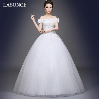 LASONCE Flowers Boat Neck Sequined Ball Gown Wedding Dresses Off The Shoulder Pearls Backless Bridal Gowns