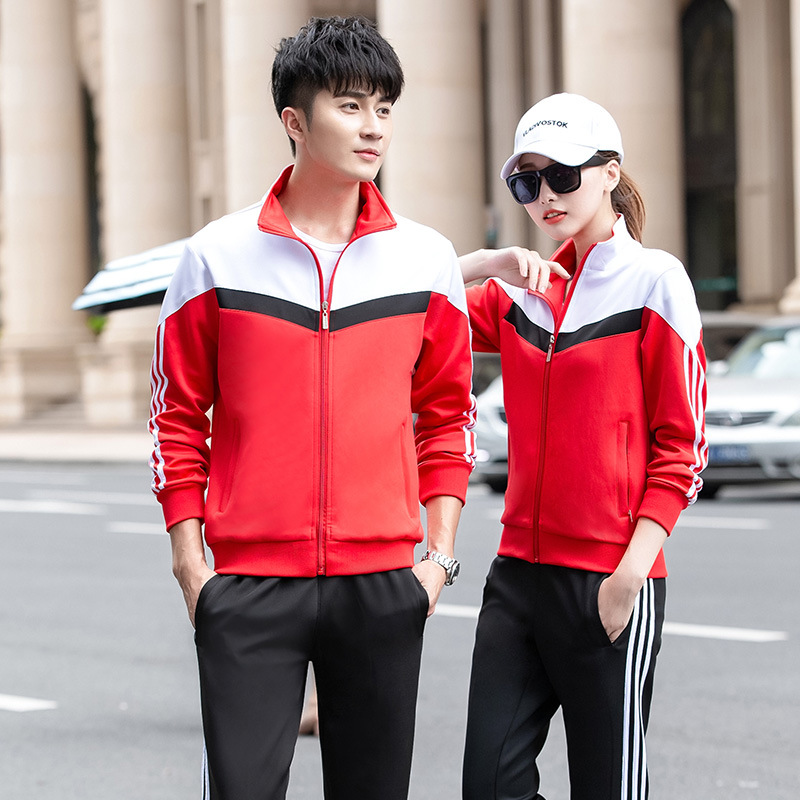 2019 New Style Couples Sports Set Men And Women Spring And Autumn Outdoor Running Sports Clothing Middle School Students School
