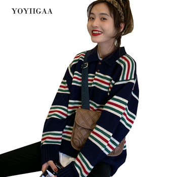 Stripe Women Sweater Crewneck Knitted Women's Pullover Sweater Casual Tops Autumn Winte Female Sweaters for Woman Clothes цена 2017