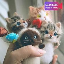 Handmade Toys Plush-Doll Non-Finished-Product Wool Felt Music DIY Cute Gift Cat-Kits