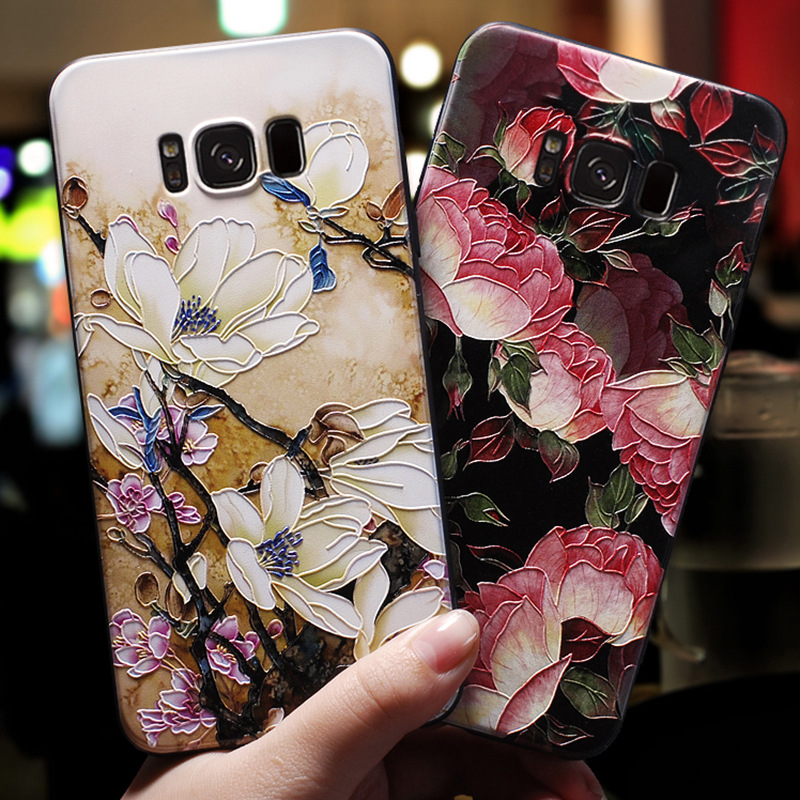 For Samsung Galaxy S8 S9 S10 Plus Case <font><b>Fundas</b></font> S8plus S9plus S10plus Phone Coque <font><b>3d</b></font> Emboss Rose Flower Soft TPU Black Back Cover image