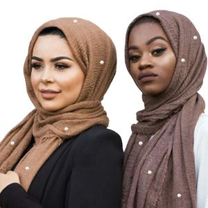 Image 1 - Muslim Headband Hijab Good Quality Scarf Solid Color Ladies Cotton Crinkle Plain Wrinkle Wrap Bubble Scarf Women Crinkled Shawl