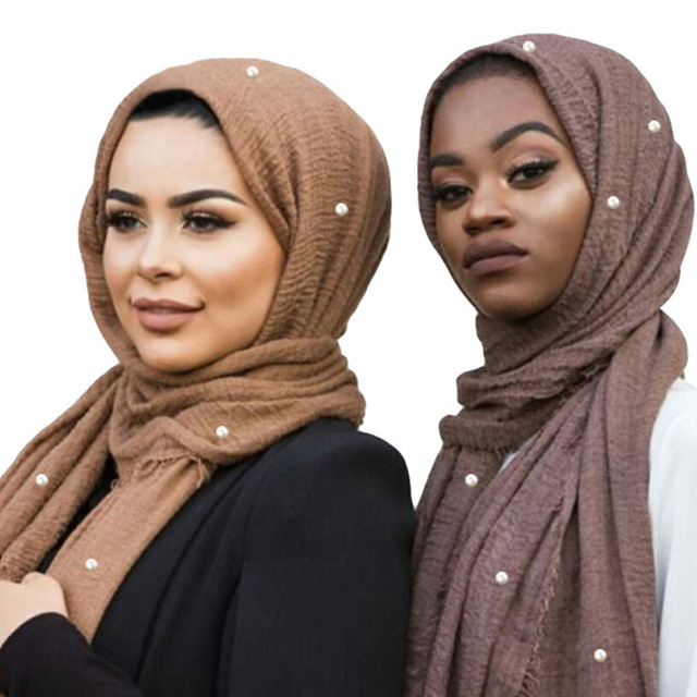 Muslim Headband Hijab Good Quality Scarf Solid Color Ladies Cotton Crinkle Plain Wrinkle Wrap Bubble Scarf Women Crinkled Shawl