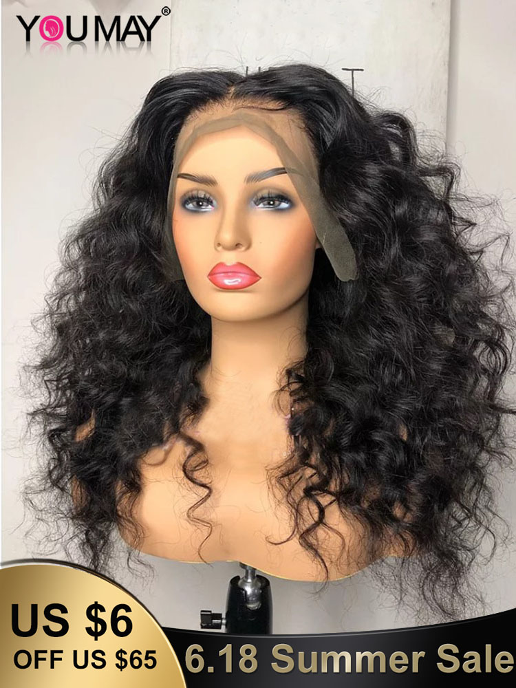 Wig 360 Human-Hair-Wigs Lace-Frontal You May Fake Scalp 250-Density Loose Wave 13x6 30inch