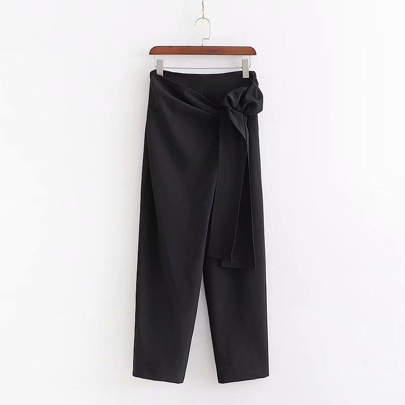 Women Fashion Solid Color Bow Tied Black Harem Pants Femme Ankle Length Leisure Side Zipper Trousers Casual Chic Pants P555