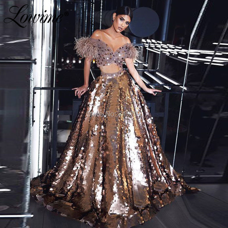 Sequins Two Pieces Feather Evening Dress Off The Shoulder Prom Dresses 2020 African Party Gown Robe De Soiree Dubai Arabic Dress