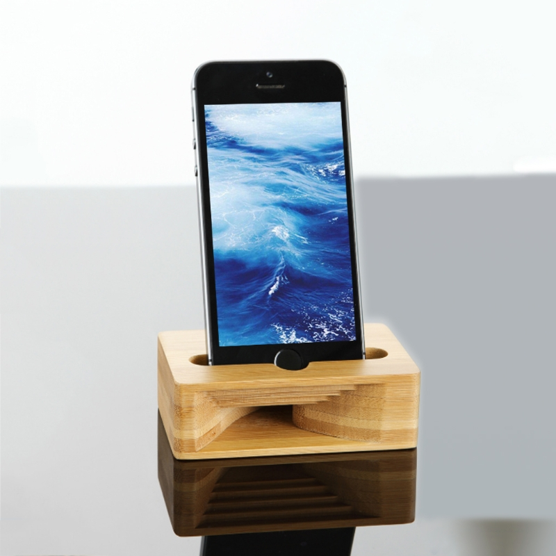 Phone Sound Amplifier Universal Bamboo Mobile Holder Stand Cellphone Loudspeaker H55F