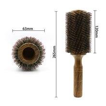 Brosse à cheveux ronde professionnelle en bois de barbier, 63mm, peigne pour souffler et lisser les cheveux longs, 100% poils de sanglier