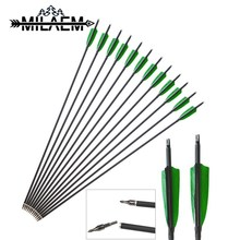 24 Pcs Spine 500 Carbon Arrow OD 7.8mm ID 6.2 mm With 4 inch Real Turkey Feather Archery Shooting Hunting Accessories