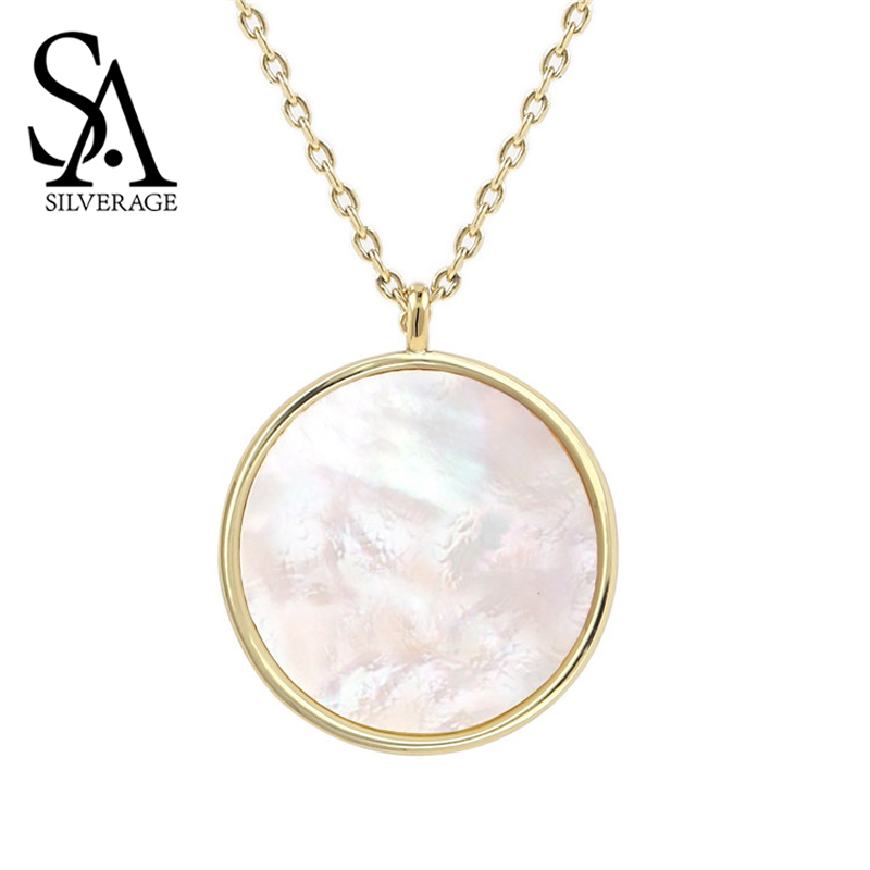 SA SILVERAGE Natural Shell Necklace Gifts For Women And Men White Jewelry Natural Shell Necklace Round Pendant Necklace Women