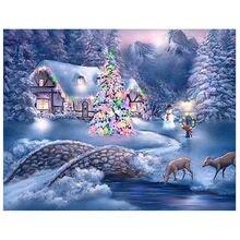 Пейзаж снег diy картина вышивка крестиком Мозаика из страз 5d