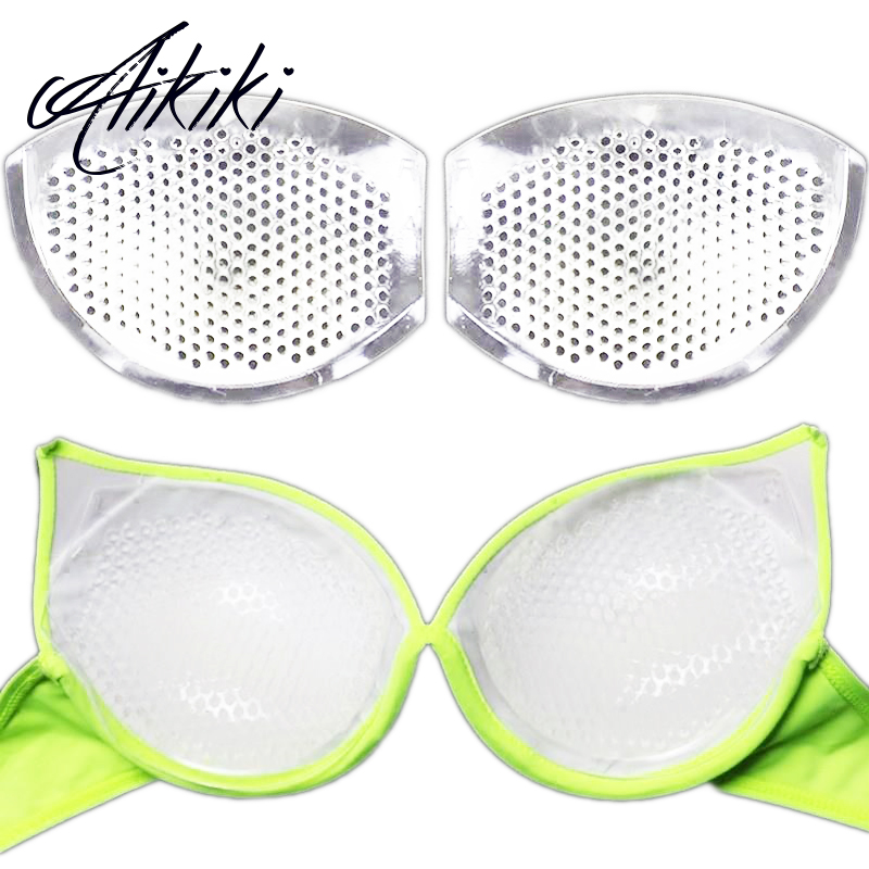 Women Silicone Bra Inserts Bikini Swimsuit Bra Pads Push Up Pads Breast Enhancer Massage Inserts For Dress With Breathable Holes