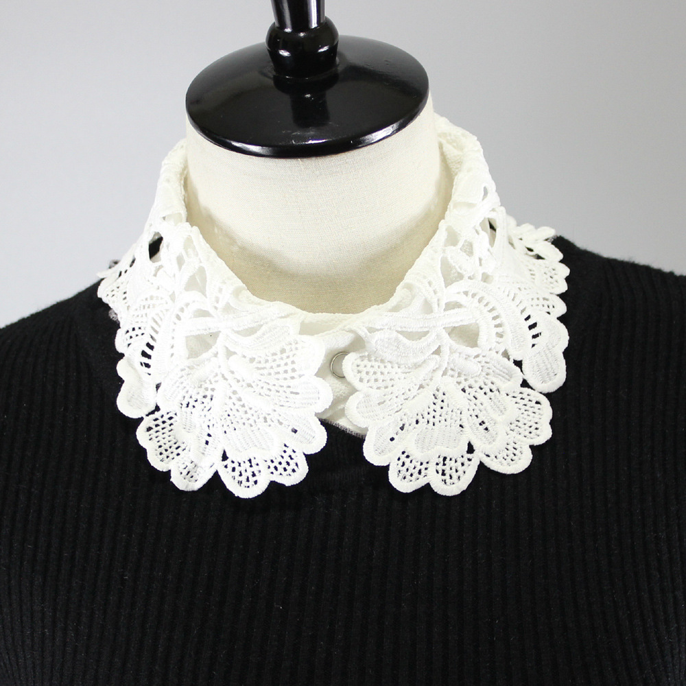 Lace Flower Decoration Lead Temperament Chiffon Shirt Women Dickie Fake Collar Detachable New Free Shipping