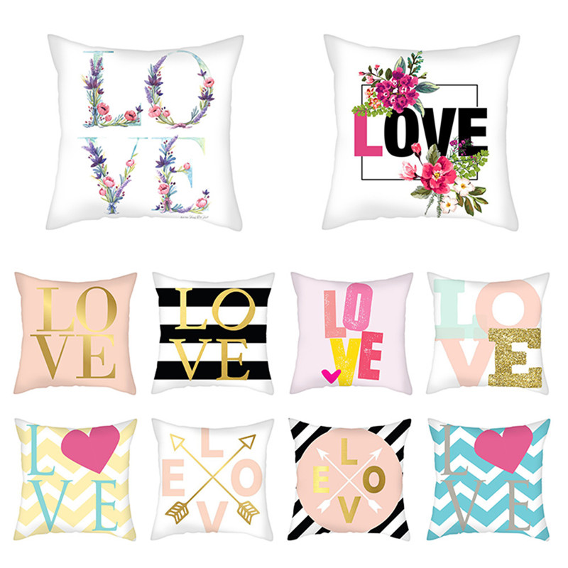 Fuwatacchi Love Letter Photo Pillow Case Single Printed Cushion Cover Suqare 45x45cm Throw Pillow Cover for Home Sofa Decoration