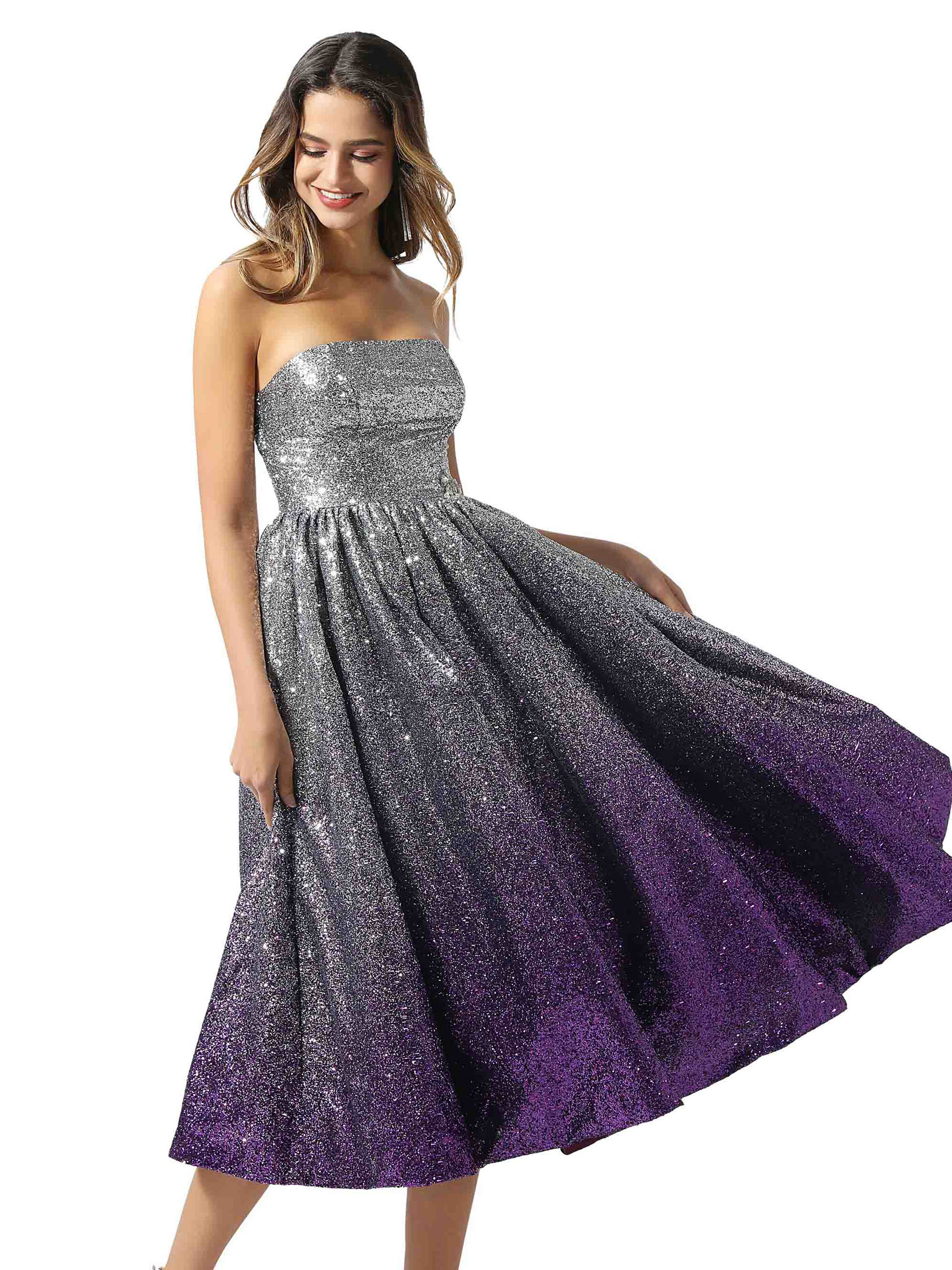 Tanpell Sequins Cocktail Dress A-Line Strapless Sleeveless Tea-Length Women Prom Party Formal Design Cocktail Dress 2020