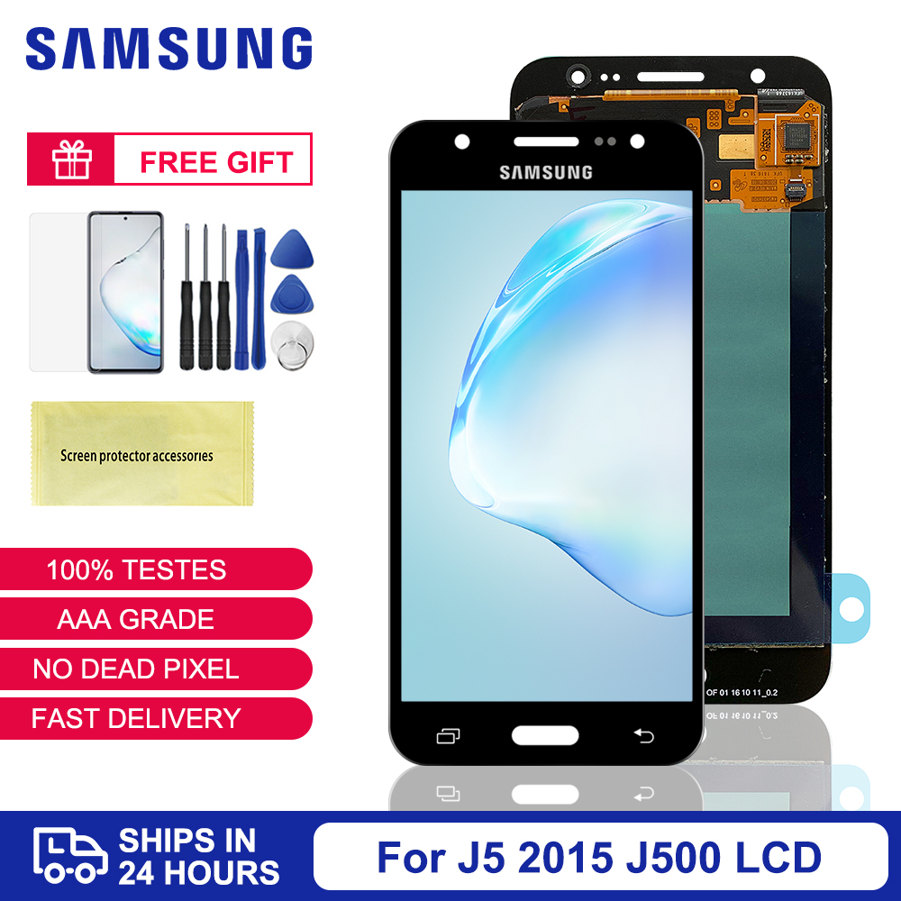 Original Super <font><b>AMOLED</b></font> lcd For Samsung Galaxy J5 2015 LCD <font><b>J500</b></font> J500F J500G J500M J500H J500FN LCD Display Touch Screen Digitizer image