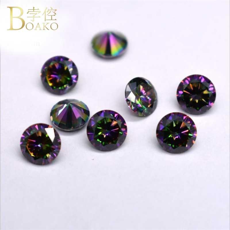 Piedra de circonita de cristal colorido arco iris para hacer joyas piedra de Zirconia cúbica con agujeros pendientes DIY collar pulsera cuentas Z5