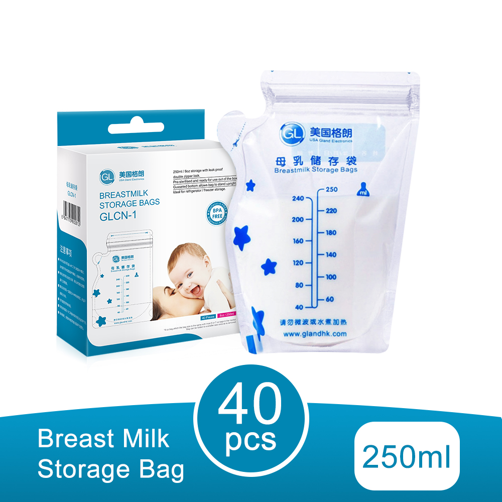 GL 40Pcs/Pack Breast Milk Storage Bag Baby Food Storage Big Size 250ML Breastmilk Feeding Milk Freezer Bags BPA Free