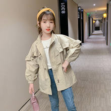 Cardigan Trench-Coat Waist Jacket Windbreaker Girl Toddler Children's Autumn Mandarin-Collar