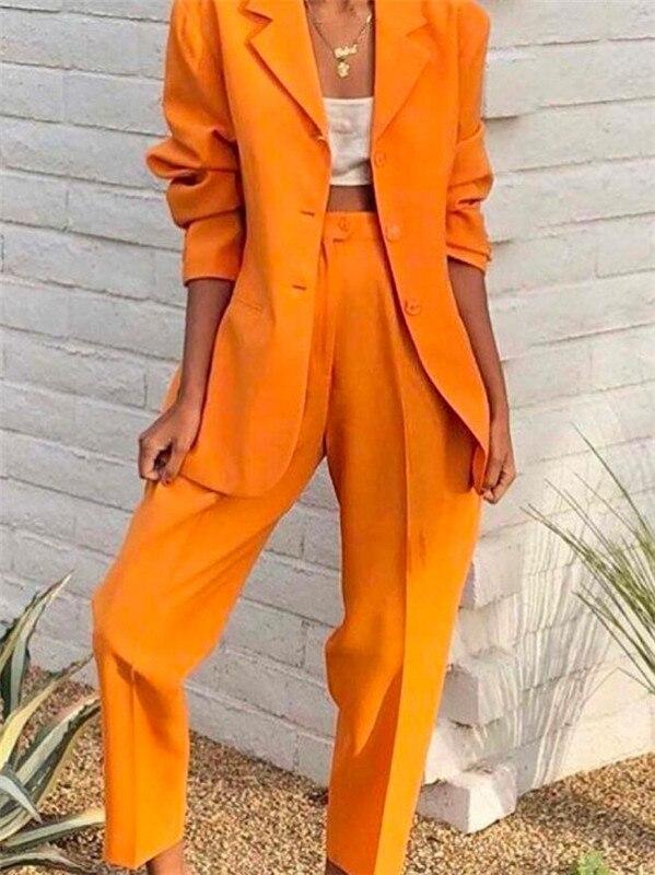 Orange Notch Lapel Lady Women Suits Set 2020 Spring And Autumn Slim Professional 2 Piece Set Suit Women's Pantsuit Customi Made