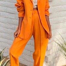 Orange Notch Lapel Lady Women Suits Set 2019 Spring and Autu