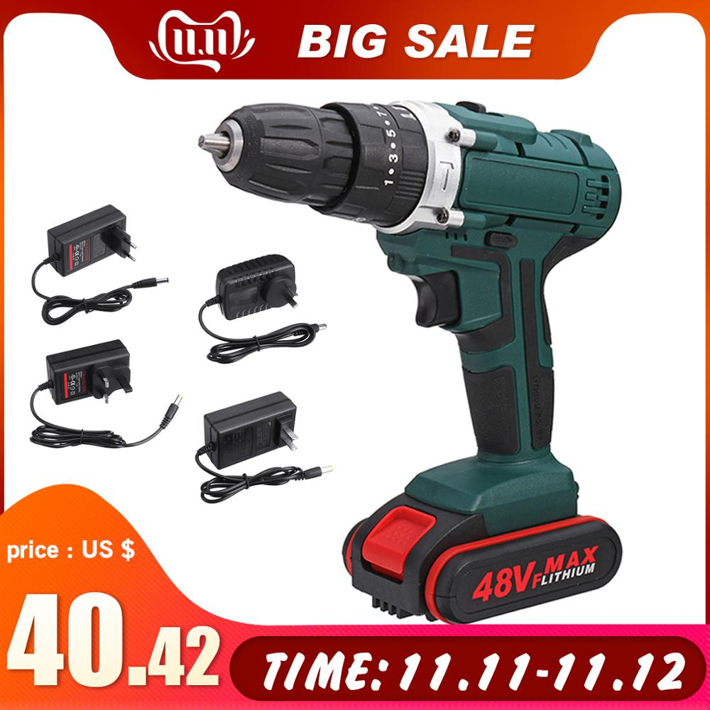 48V 6500/13000mah 2 Speed Dual battery Power-Drills Screwdriver Rechargeable Cordless Electric Drill 25+3 Torque Drilling Tool