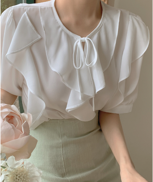 New Oversize Girls Summer blouse women chiffon suit short sleeves  Tops high waist pencil skirt  two piece suits Sell separately 3