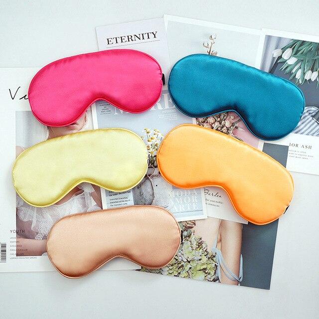 Silk Sleep Eye Mask Padded Shade Eye Cover Patch Sleeping Mask Eyemask Blindfolds Travel Relax Rest Women Men